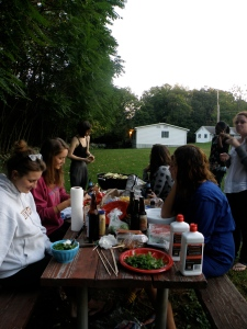 grill time with lovely lady helpers hard at work